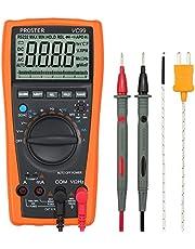 Proster Auto Rango Multímetro Digital 6000 Cuentas y 2000uF Digital Multímetros Amp/ Ohm / Voltímetro Multi Tester con la Prueba de la Capacitancia y Medición de Temperatura