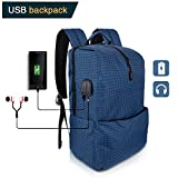 Cheap Travel Laptop Backpack,Elstey Waterproof Casual Hiking Travel Daypack with USB Charging Port & Headphone Interface for College Student for Women Men,Fits Under 15.6 Inches Laptop Notebook