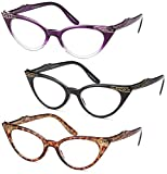GAMMA RAY 3pk Womens Chic Cat Eye Vintage Reading Glasses - 1.50 Magnification