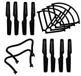 BTG Spare Parts for Jjrc H8c H8d DFD F183 Rc Quadcopter -Propellers (8pcs)+ Skids (2pcs)+ Guards (4pcs) Black Color
