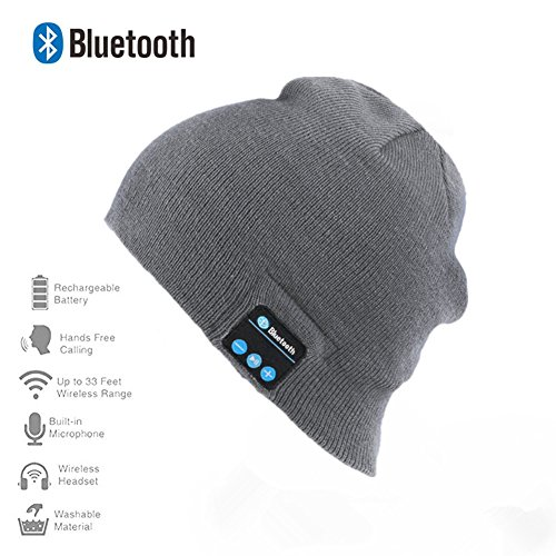 Happy-top Bluetooth Music Soft Warm Beanie Hat Cap with Stereo Headphone Headset Speaker Wireless Mic Hands-free for Men Women Gift (Light (Name The Day After Halloween)