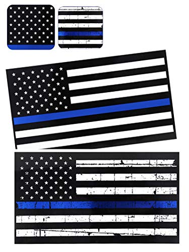 PBPBOX 6-PCS Reflective Thin Blue Line Decal -6.9 X 3.7 inch USA Flag Decal Stickers for Cars and Trucks,Support of Police and Law Enforcement Officers, 2-Type ()