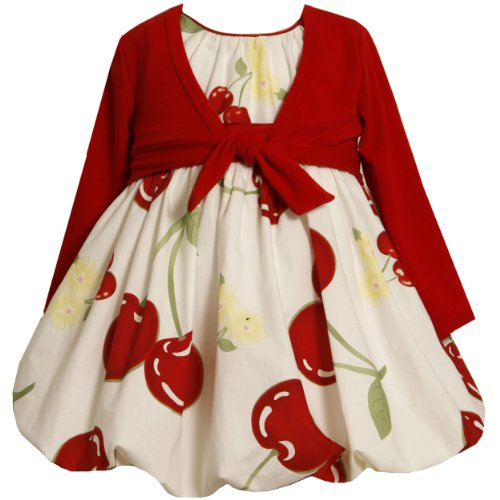 Bonnie Jean Baby/INFANT 12M-24M 2-Piece RED WHITE CHERRY PRINT BUBBLE SKIRT Special Occasion Party Dress and Shrug/Jacket Set