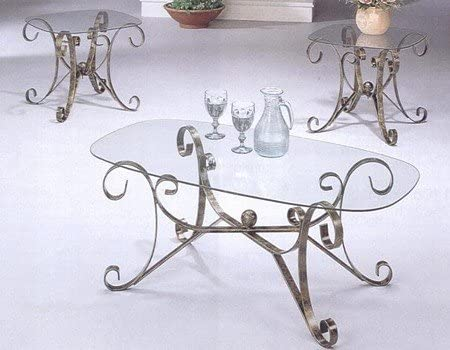 gold wrought iron coffee table