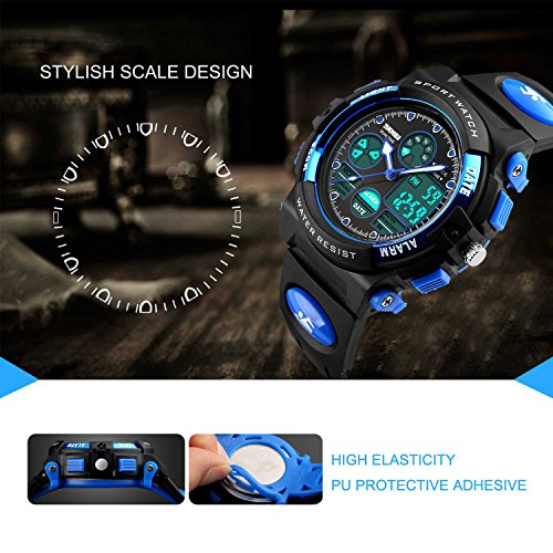 Kids Sports Digital Watch, Boys Girls Outdoor Waterproof Watches Children Analog Quartz Wrist Watch with Alarm - Blue by cofuo (Image #2)