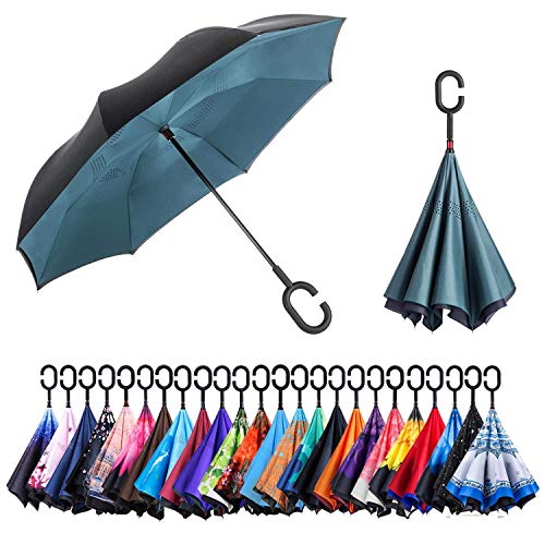 NewSight Reverse/Inverted Double-Layer Waterproof Straight Umbrella, Self-Standing & C-Shape Handle & Carrying Bag for Free Hands, Inside-Out Folding for Car Use (Dark Green)