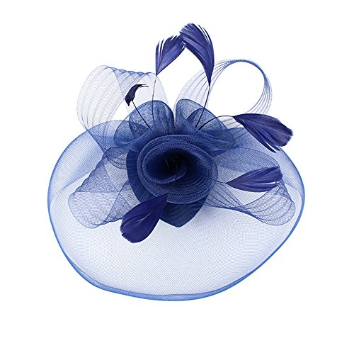 Urban CoCo Women's Elegant Flower Feather and Veil Fascinator Cocktail Party Hair Clip Hat (Navy blue),one Size (Fascinator Hats Blue)