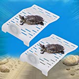 Aquarium Tortoise Platform, 2Pcs Turtle Terrace Reptile Habitat Floating Island Dock with Suction Cup Suitable for Fish Tank Decor Size 12 19cm / 4.7 7.5''