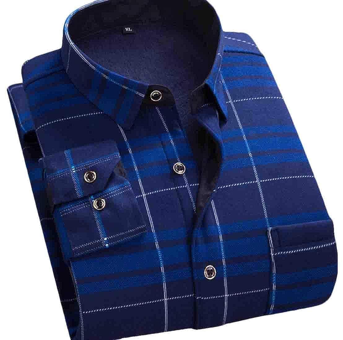 Zantt Men Long Sleeve Thicken Linen Fleece Print Buttons Shirts