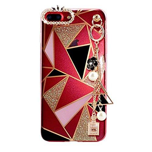 iPhone 8 Plus Case Bling Diamond,Auroralove iPhone 7 Plus Case Crystal Rhinestone Luxury Soft TPU iPhone 7 Plus Case with Ring Stand for Girls Women(Rhombus)