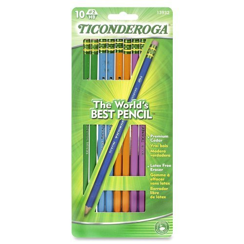 Dixon Ticonderoga Wood-Cased #2 Pencils, Black Lead, Assorted Color Barrels, model 13932,  [Box of 10]  (3-Pack)