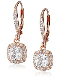 Cubic Zirconia Round Shaped Lever Back Earrings (3.6 cttw)