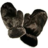 MinkgLove Full Fur Massage Glove, Mink and Rex Rabbit, Covered Inside and Outside, Velvety Soft and Textured, Black, Hand Tailored, Unisex - Four Sided All Fur