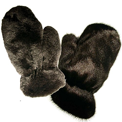 MinkgLove Full Fur Massage Glove, Mink and Rex Rabbit, Covered Inside and Outside, Velvety Soft and Textured, Black, Hand Tailored, Unisex - Four Sided All Fur by MinkgLove