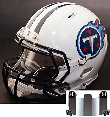 Riddell Speed TENNESSEE TITANS NFL REPLICA Football Helmet with S2BD Football Helmet Facemask/Faceguard and MIRRORED Eye Shield/Visor by Riddell
