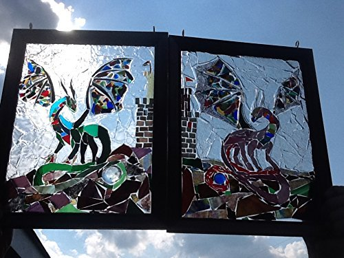 Dragon Stained Glass Window Art Sun Catcher set of two by Mountain Mosaics
