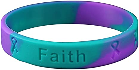 10 High Quality Bracelets Medical Grade Silicone Latex and Toxin Free 10 Sexual Assault Teal and Purple Silicone Awareness Bracelets