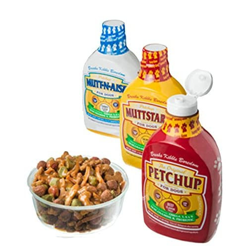 chic Petchup Nutritional Dog Gravy Condiment Variety Pack - Best Gluten Free Dry Dog Food Topper with Natural, Healthy, and Holistic Formula for Adult Dogs! Petchup, Muttstard, and Mutt-n-aise Flavors