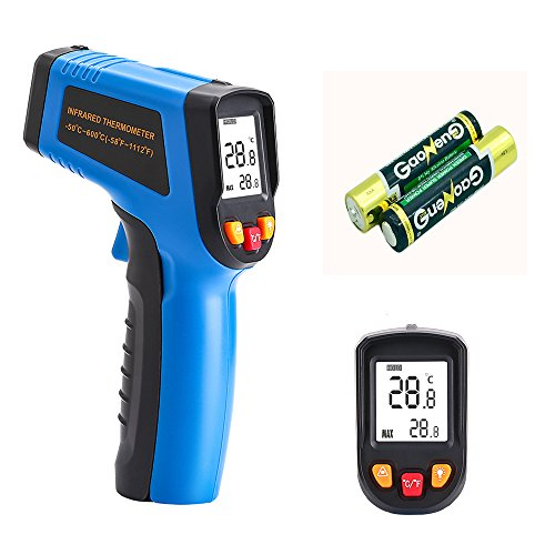 DEKO Digital Temperature Gun IR Infrared Non-contact -58°F~1112°F (-50°C~600°C) Thermometer with Adjustable Emissivity (0.1-1.0)and LED (Digital Infrared Connection)