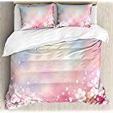 Pastel Queen Size Duvet Cover Set by Ambesonne, Japanese Nature Sakura Tree Cherry Blossoms Romantic Hazy Dreamy Cheerful, Decorative 3 Piece Bedding Set with 2 Pillow Shams, Light Pink Light Blue