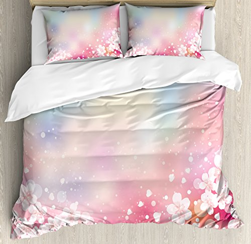 Pastel Duvet Cover Set Queen Size by Ambesonne, Japanese Nature Sakura Tree Cherry Blossoms Romantic Hazy Dreamy Cheerful, Decorative 3 Piece Bedding Set with 2 Pillow Shams, Light Pink Light Blue Cheerful Blossoms