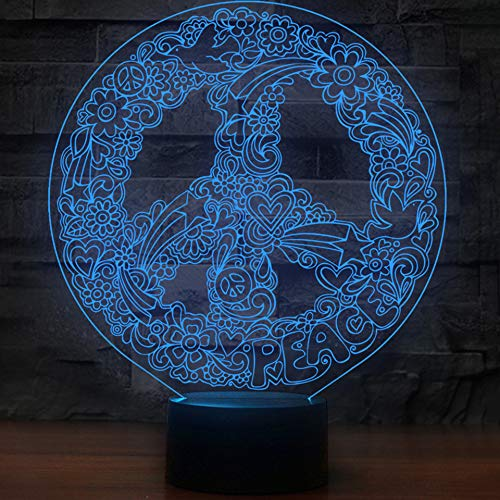 (CJRSAM Touch 3D Art Hippie Peace Sign Shape Night Lights for 7 Colors Changing Led Lighting Creative Office Decor USB Table)