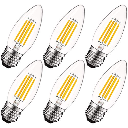 Luxrite 5W Vintage E26 Candelabra LED Bulbs 60W Equivalent, 550 Lumens, 2700K Warm White Dimmable, Medium Base Candelabra Bulb, Torpedo Tip Clear Glass, Edison Filament Light Bulb, UL Listed (6 Pack)