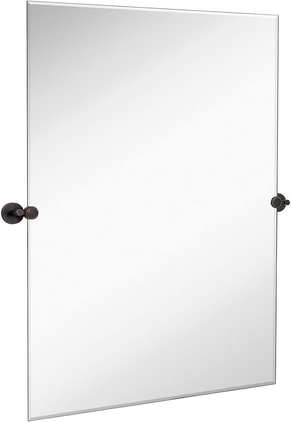 Hamilton Hills Large Pivot Rectangle Mirror with Oil Rubbed Bronze Wall Anchors   Silver Backed Adjustable Moving & Tilting Wall Mirror   30