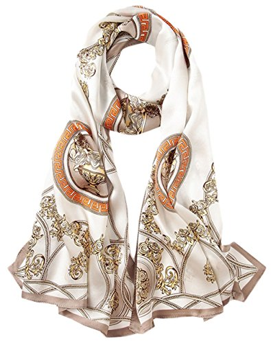 larga Print Verano Woman Beige bufanda Primavera 2 All Scarf Seda Gran 5 Uv colorida Anti qZTAvwv