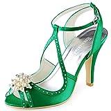 ElegantPark EP11058 Women Peep Toe High Heel Pearls Rhinestones Strap Satin Evening Wedding Sandals Green US 7