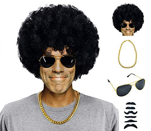 70s 80s 90s Disco Rock Star Heavy Metal Costume Mega-Huge Wig Set with Sunglasses & Necklace & Fake Mustache Black ()