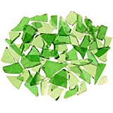 Mixed Green Stained Glass Cobbles-2.5 ounces