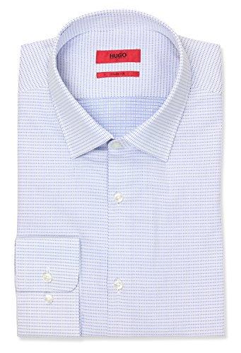 HUGO by Hugo Boss Men's Hugo Sharp Fit Dress Shirt with Modified Point Collar, Open Blue, 16.5L