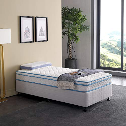 Twin Size Mattress Le Confort 8 Inch Plush Memory Foam Pillow Top Hybrid Spring Single Bed Mattress in a Box ()