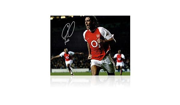 Robert Pires Firmado Arsenal Foto: Celebración de la meta: Amazon.es: Deportes y aire libre