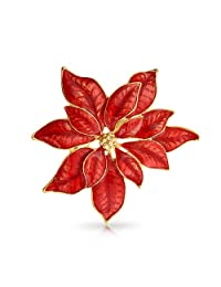 Poinsettia Flower Christmas Holiday Brooch Christmas Pin Red Enamel Gold Plated Alloy