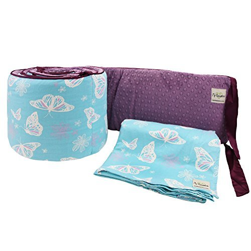 My Blankee 2 Piece Butterfly Blue Crib Set White/Plum Minky Dot [並行輸入品]   B077ZR99FZ