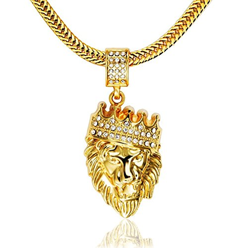 [Lion Head Pendant with 30 Inch Chain Necklace, 18 Karat Gold Plated Alloy with Cubic Zirconia Rhinestones | Nickel Free, Lead Free, Hypoallergenic, Tarnish] (Uncommon Couples Costume Ideas)