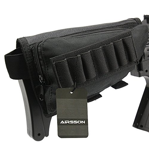 Shotgun Stock Shell Holder (Airsson Tactical Buttstock Butt Stock Holder Ammo Pouch Molle 7 Shells Pouch with Cheek Leather Pad for Right Hand (Black))