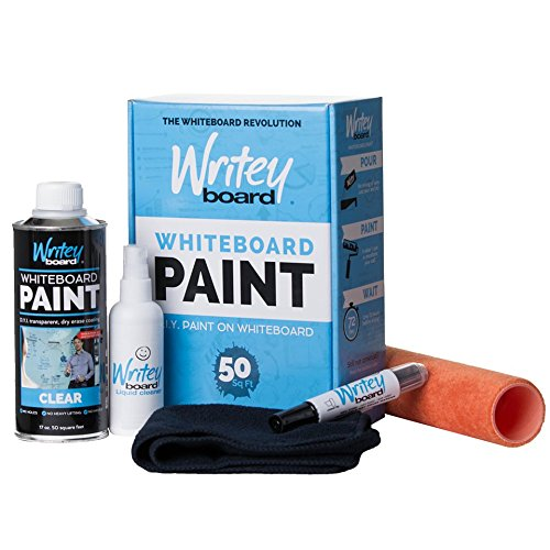 Writeyboard Premium 5 Piece Whiteboard Paint Kit, Clear Paint, with 9 Inch Roller, Covers 50 Square Feet (9 Inch Backsplash)