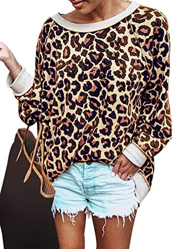 Ramoug Womens Sexy Leopard Print Long Sleeve T-Shirt Ladies Casual Loose Pullover Blouse Tops