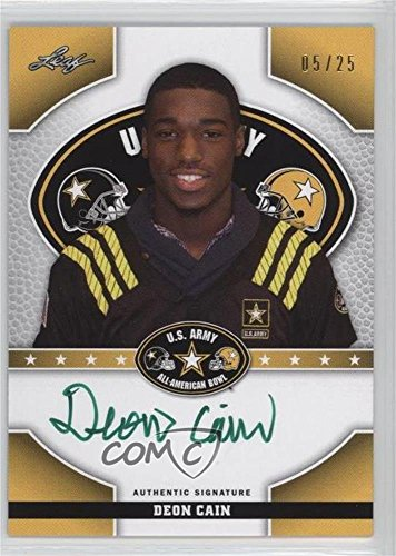 Deon Cain #5/25 (Football Card) 2015 Leaf U.S. Army All-American Bowl - Tour Autographs - Green Ink #TA-DC1