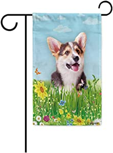 BAGEYOU Hello Spring Floral with My Love Dog Welsh Corgi Pembroke Garden Flag Summer Flower Home Decor Yard Banner for Outside 12.5 x 18 Inch Printed Double Sided