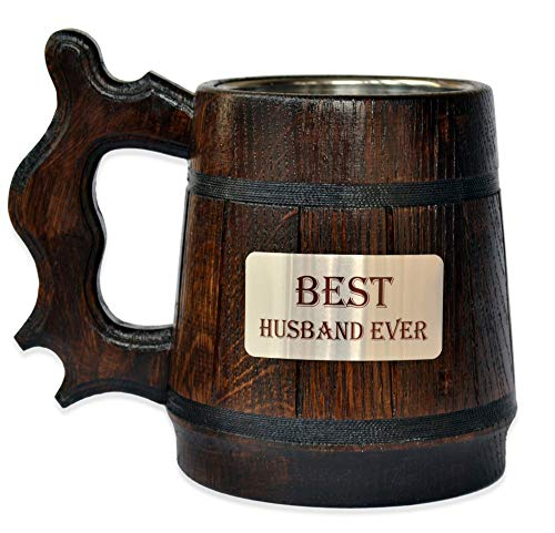 Handmade Best Husband - Wood Beer - Mug NON-PERSONALIZED 0.6L 20oz Natural Stainless Steel - Cup Men - Eco-Friendly Wooden Tankard Souvenir Retro Brown ()