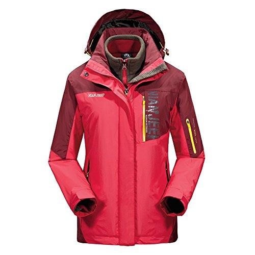 Chickle Women's Outdoor Windbreaker Waterproof Winter Hiking Jacket Red by Chickle