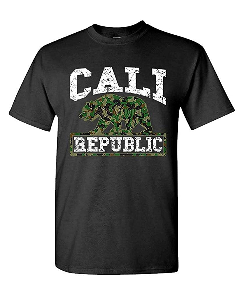 Camoflage California Bear Hip Hop Rap Hunt S Tshirt Black