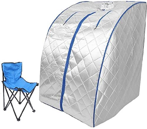 AYNEFY Portable Personal Steam Sauna, Professional Foldable Intelligent Control One Person Sauna Tent with Remote Control and Chair for Home SPA, 72 x 80 x 96 cm 2