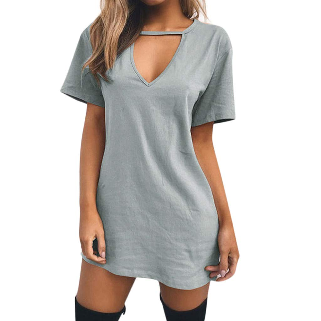Peigen Women Sexy Loose T-Shirt Dress, Womens Choker V Neck Long Tops T-shirt Ladies Casual Party Mini Dress Blouse