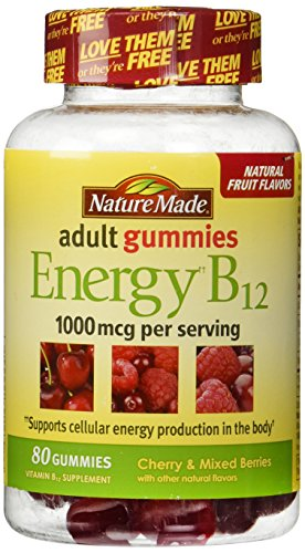 Naturaleza hecha energía B-12 adultos gomitas cereza salvaje y bayas--80 gomitas, 1000 mcg