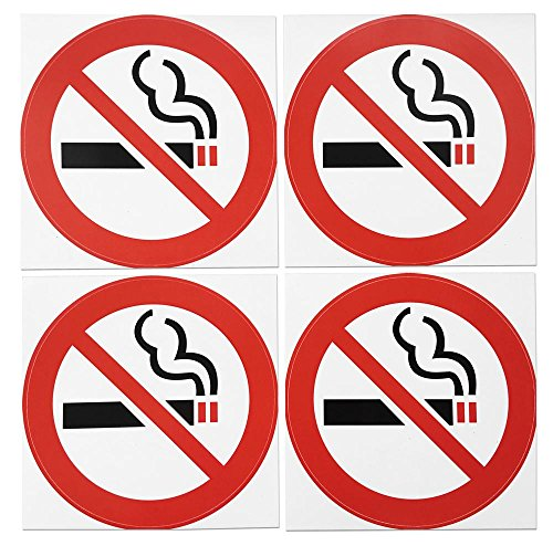Set Warning Decal - dealzEpic - No Smoking Round Vinyl Stickers | Peel and Stick Self Adhesive Waterproof Warning Decal | Set of 4 pcs